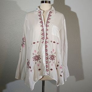 Johnny Was 3J Workshop Embroidered Tunic Top Md